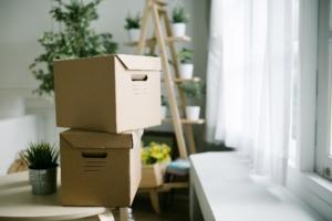 Using cardboard boxes as storage
